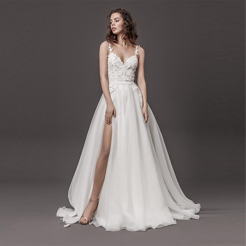 Verngo A-line <font><b>Wedding</b></font> <font><b>Dress</b></font> Fashion Flowers <font><b>Wedding</b></font> Gowns <font><b>Sexy</b></font> Backless Side Slit Bride <font><b>Dress</b></font> Vestidos De Novia 2019 image