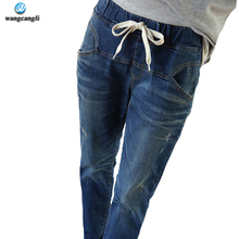 2017 New Blue During Waist Jeans Woman Loose Holes vintage pants Women Plus Size Jeans For Women Elastic Blue Ripped Jeans women