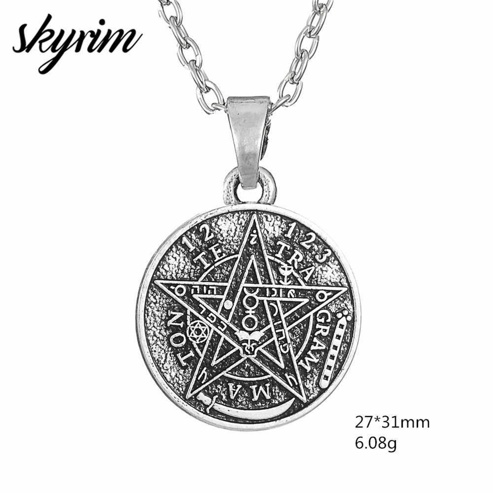 Skyrim Vintage tetragram Pentagram Wicca uroku wisiorek naszyjnik dla człowieka biżuteria Amulet akcesoria naszyjniki prezenty