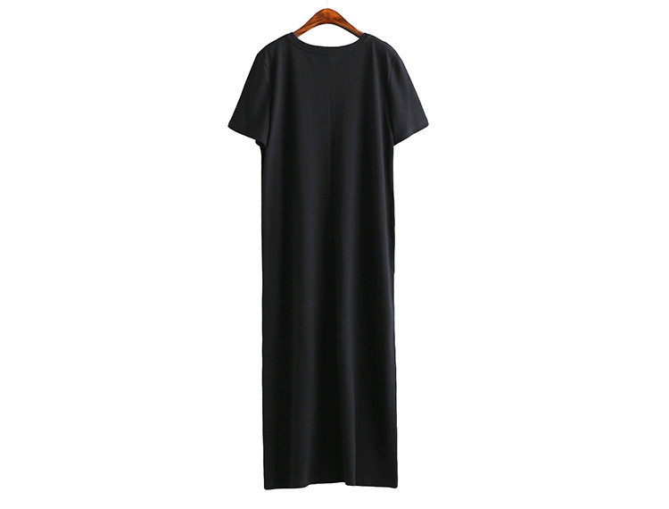 Side High Slit Short Sleeves Black Long T-Shirt Women Dress 2
