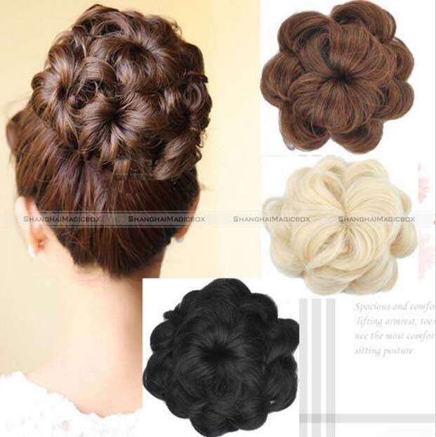 1pc Large Curly Drawstring Clip In On Messy Hair Bun Piece Updo Hair