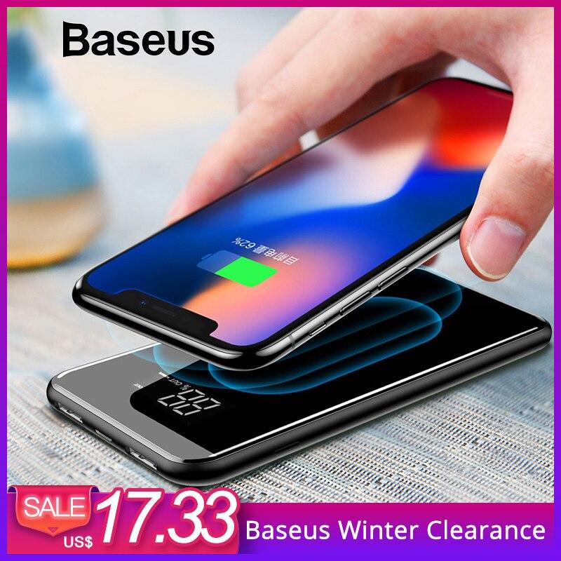 Baseus 8000 mAh cargador inalámbrico QI Dual USB banco de potencia para iPhone Samsung USB cargador de batería externa