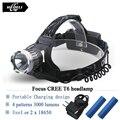 High Power Cree xml t6 glare headlight straight rechargeable flashlight headlamp Waterproof head light 18650 Bike head lamp