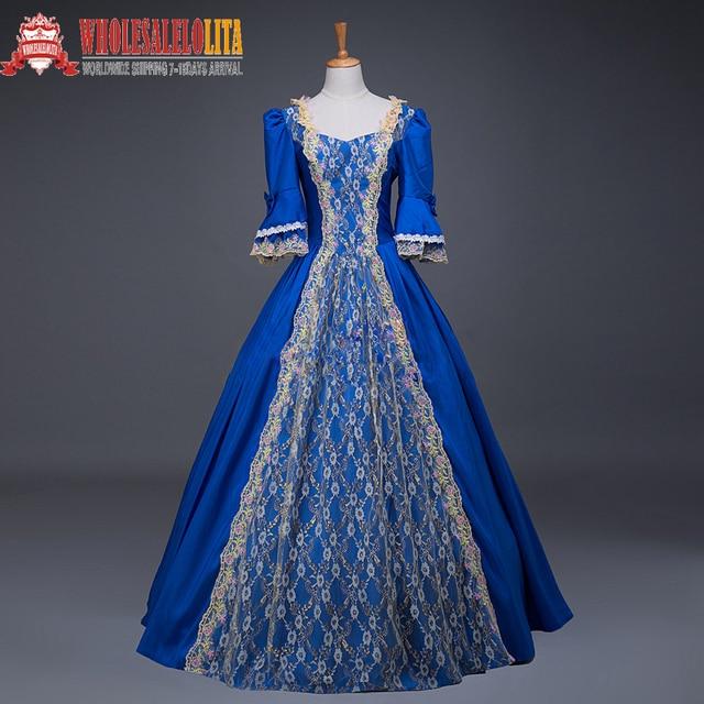 Top Renaissance Georgian Period Masquerade Princess Bridesmaid Dresses Ball Gown Reenactment Rococo Clothing