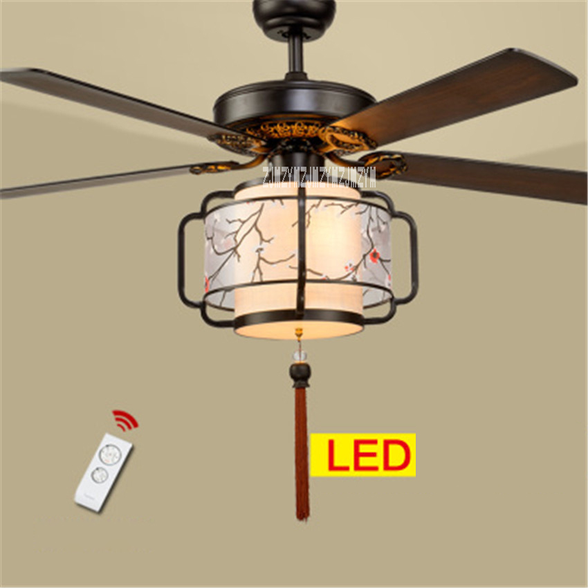 New HS030 Ceiling Fan Lights Living Room Bedroom Lights 5 Wooden Lanterns LED Mute Remote Control Fan with light 220v/110v 70W remote control fan chandelier home mute living room solid wood fan chandelier lights american antique retro chinese lights fan