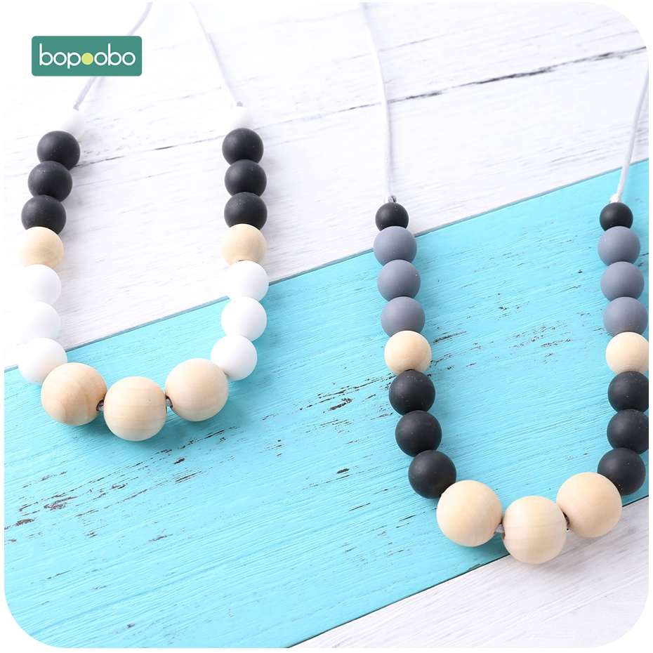 Bopoobo 1PC Silicone Teether Necklace Wooden Beads Safe Toys Sensory Strolle Toys New-born Gift Breastfeeding Baby Teether
