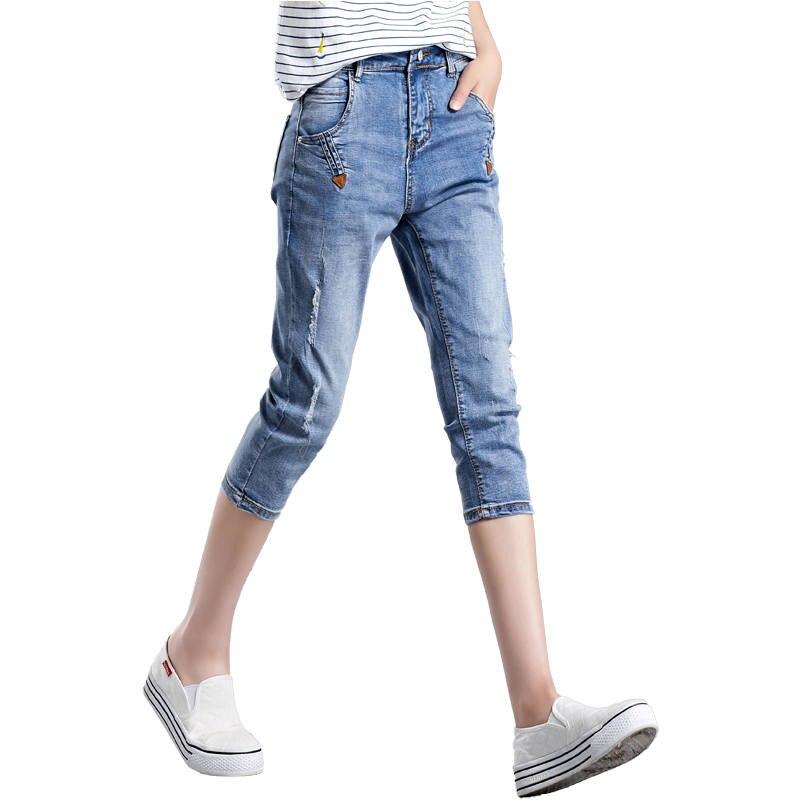 Plus Size Ripped Jeans For Women Summer Jeans Capris Woman Vaqueros Mujer Casual High Waist Jeans Denim Harem Jean Femme C5224