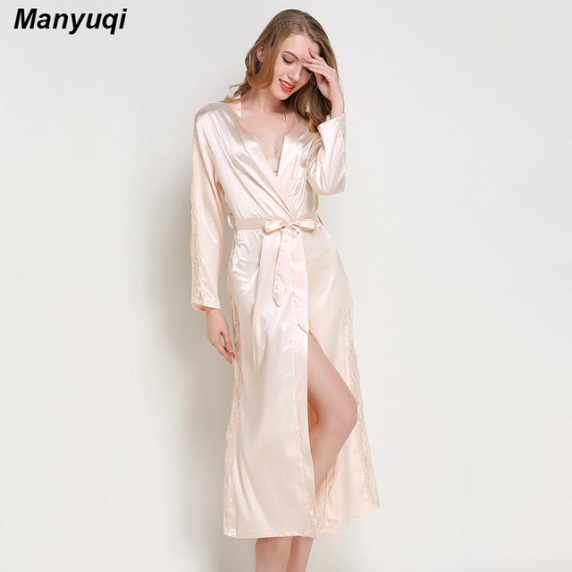 Summer women s long bathrobe side and sleeve decoration with lace luxurious  nightwear robe for women home 9b10d8c37acc