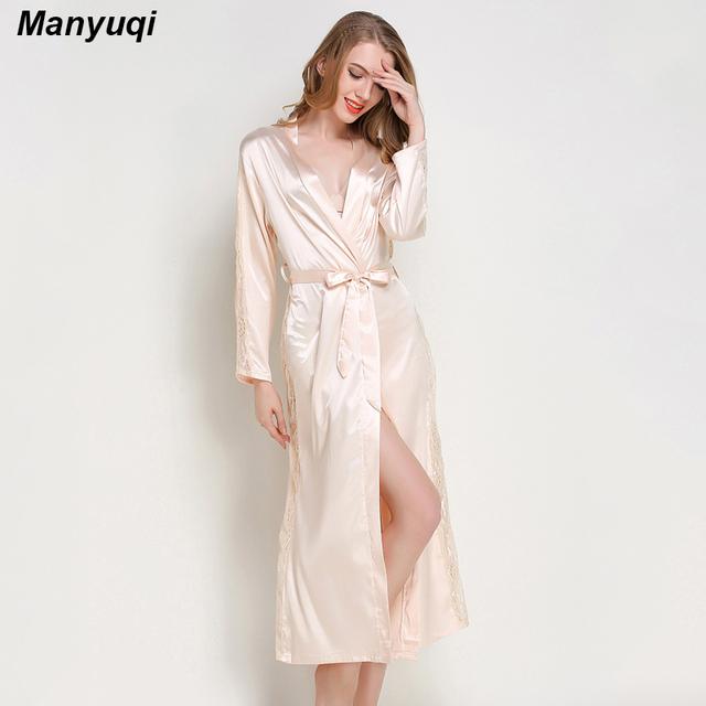 Verão decoração lado longo roupão de banho das mulheres e manga com rendas luxuoso robe roupa de dormir para as mulheres em casa vestir vestes sensuais