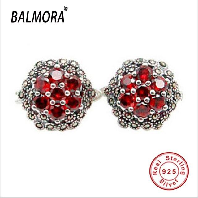 100% real pure 925 sterling silver jewelry red garnet elegant stud earrings for women lover Christmas Gifts Bijoux SLS30175