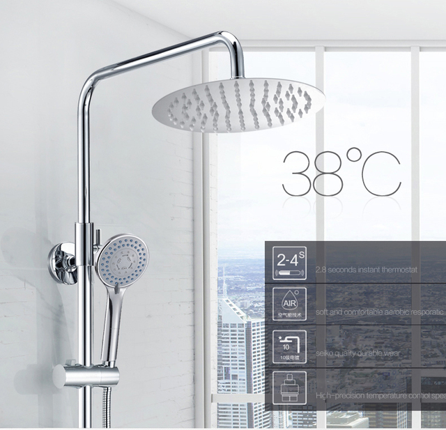 LTENG smart shower set intelligent thermostat control ceramic spool rotatable & lifting shower system faucet