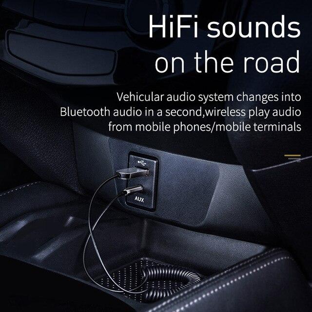 Baseus BA01 USB Bluetooth Receiver For Car 3.5 3.5mm Jack Aux Bluetooth 5.0 Adapter Wireless Audio Music Bluetooth Transmitter