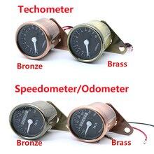 LED Highlight Backlight Bronze Motorcycle Odometer KM/H Speedometer Retro Tachometer For Universal Cafe Racer