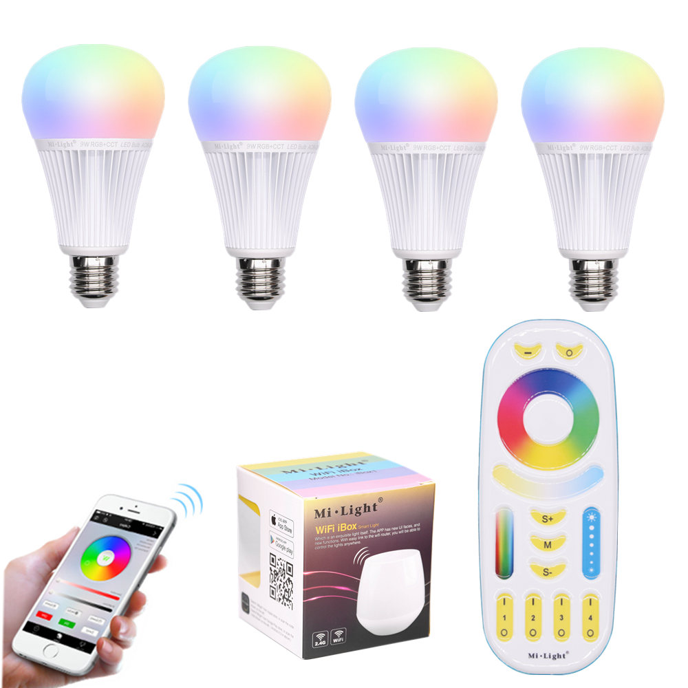 9W LED lamp E27 RGB + CCT Bulb Night Mi Light LED Bulbs AC 85V-265V 2.4G RF Wifi Remote Control Smart Atmosphere lighting new rf 315 e27 led lamp base bulb holder e27 screw timer switch remote control light lamp bulb holder for smart home
