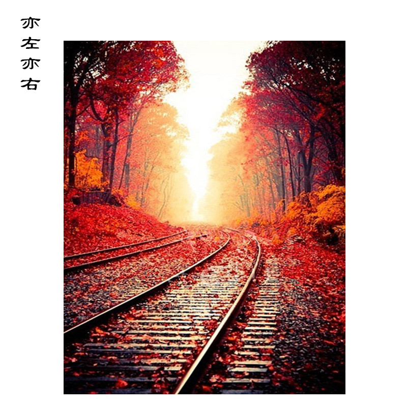 Railway style Scenery DIY Digital Painting By Numbers Modern Wall Art Canvas Painting Unique Gift Home Decor 40x50cm