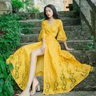 Lace Hollowed Autumn Fall Yellow Dresses for Women Girls Vacation Travelling Dress Bright Color Woman Clothing