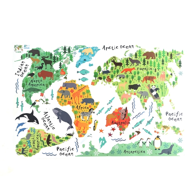 S Home New Animals Safari World Map Kids Decor Removable Wall