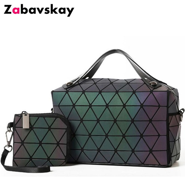 Laser Plain Folding Handbags Women Bag Luminous Sac Diamond Tote Geometry Quilted Shoulder Bags Bolso