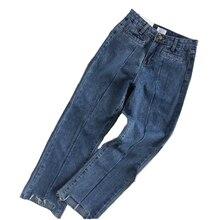 Spring Summer Women Plus Size Ankle Length Straight Jeans 4XL Casual Loose High Waist Jean Female Denim Pants недорго, оригинальная цена