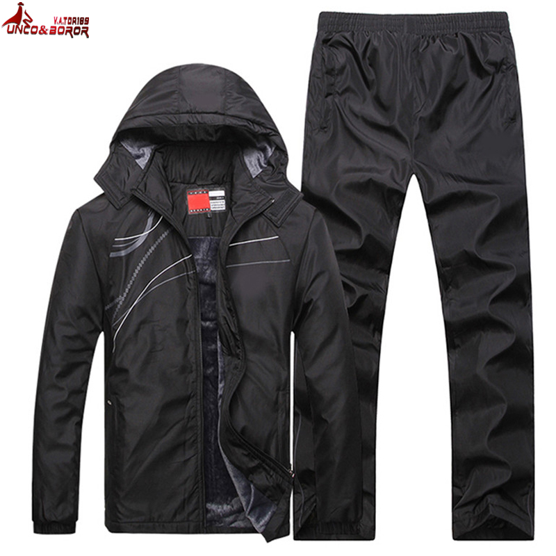 UNCO & BOROR hiver veste hommes mode épaissir polaire sweats à capuche chauds survêtements hommes ensemble parka veste manteau sportsuit taille L ~ 4XL 5XL