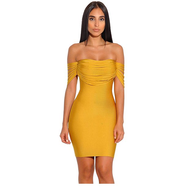 570baea3d83 2018 Summer Women Fashion Mustard Red Strappy Detail Sexy Off Shoulder  Bandage Dress Celebrity Evening Party Dress
