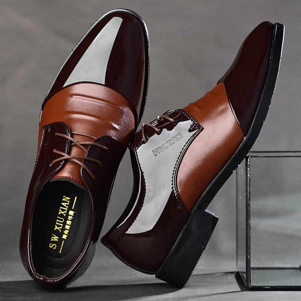 แบรนด์หรู CLASSIC Man Pointed Toe รองเท้าบุรุษสิทธิบัตรหนังสีดำรองเท้า Oxford รองเท้าแฟชั่นขนาดใหญ่