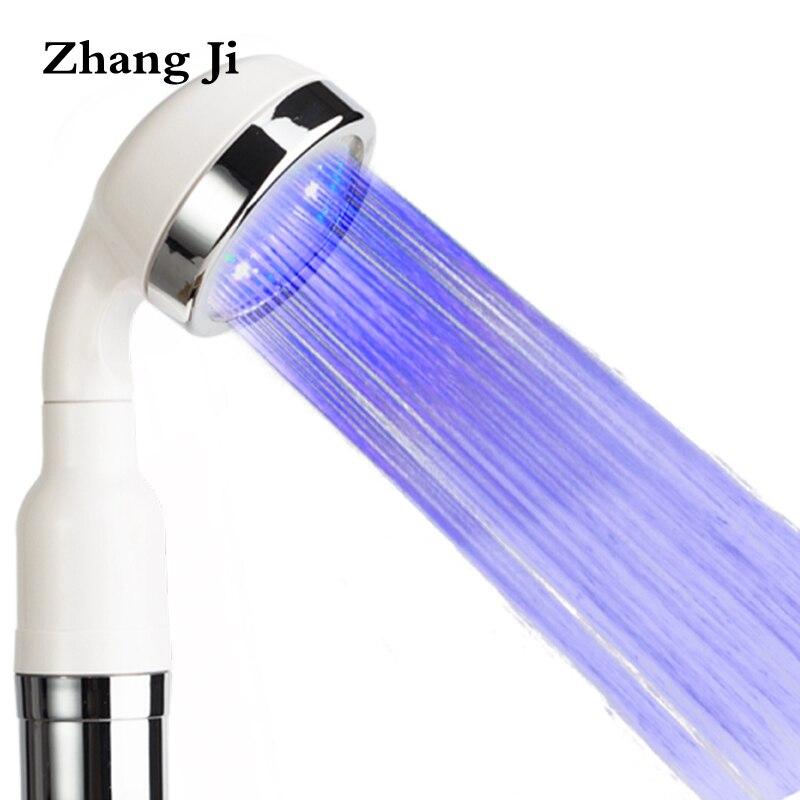 Zhang Ji Bela Branco Controle de Temperatura LED Cabeça de Chuveiro ABS Destacável de Plástico Luz Colorida Chuveiro de Mão