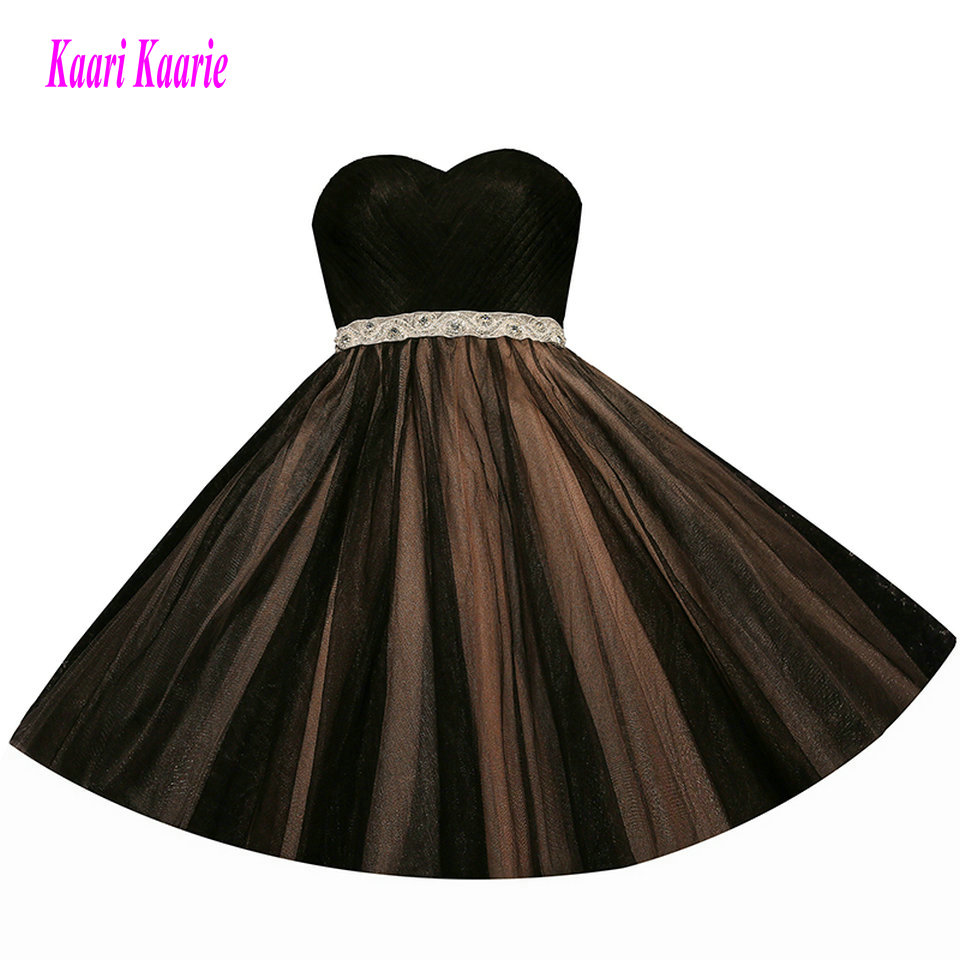 Fashion Black Short   Prom     Dresses   2019   Prom     Dress   Sweetheart Tulle Sashes Lace Up A Line Knee Length women Party Gown Evening