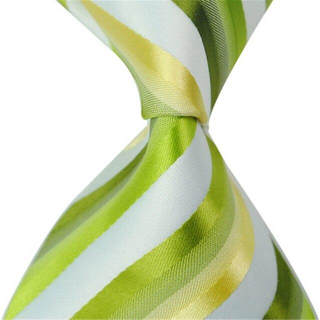 100% Шелковых Галстуков для Мужчин Зеленый Желтый Белый Полосатый Высокой качество Галстук 2017 Новый Модельер Классический Тканые Человек Рубашка шеи