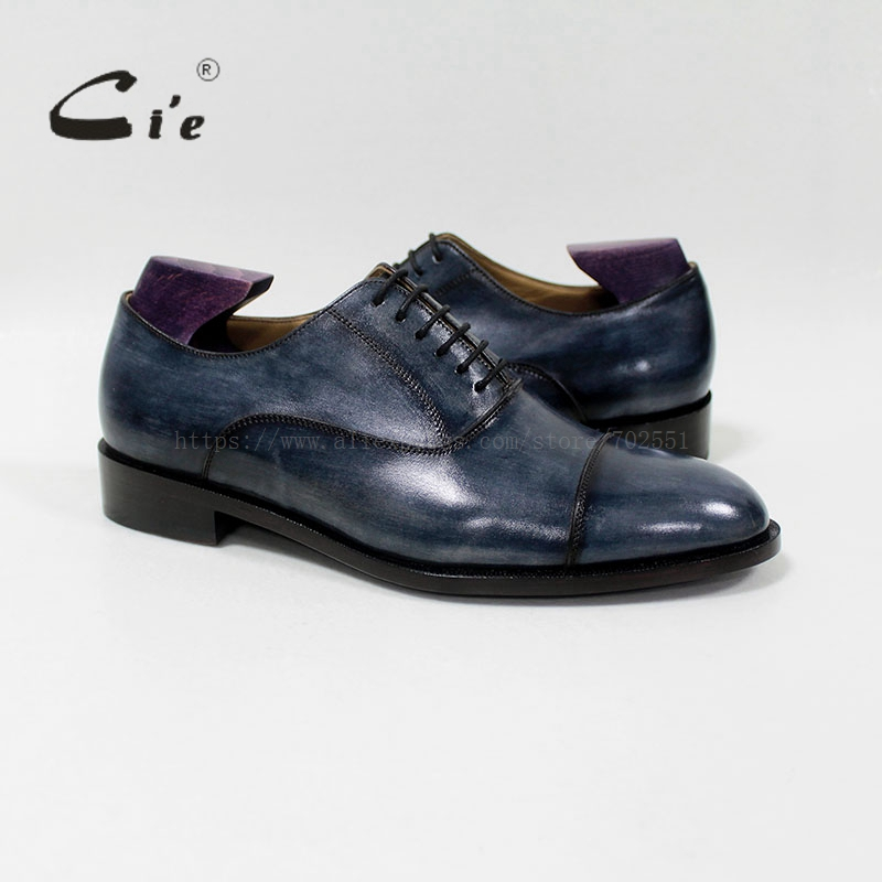 cie round captoe mackay/blake craft bespoke handmade 100%genuine calf leather breathable men's oxford shoe patina navy OX-03-03 цены онлайн
