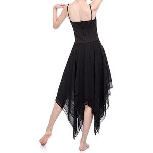 Image 5 - Frauen Ballett Kleid ballerina gymnastic kleid Erwachsene Ballett Spaghetti Strap Ärmellose Asymmetrische Chiffon Zeitgenössische Tanz Kleid