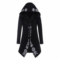 Kinikiss 2019 Men Gothic Hoodies Plus Size S 6XL Casual Cool Black Sweatshirts Loose Cotton Hooded Couples Print Punk Hoodies