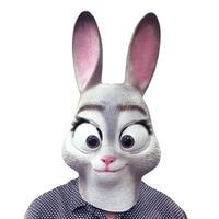 Для Zootopia Кролик Джуди Хопс Полный Маска Хэллоуин Подарки Экологичные Природа Латекс Смешные Маски Для Партии Cosplay Платье вверх