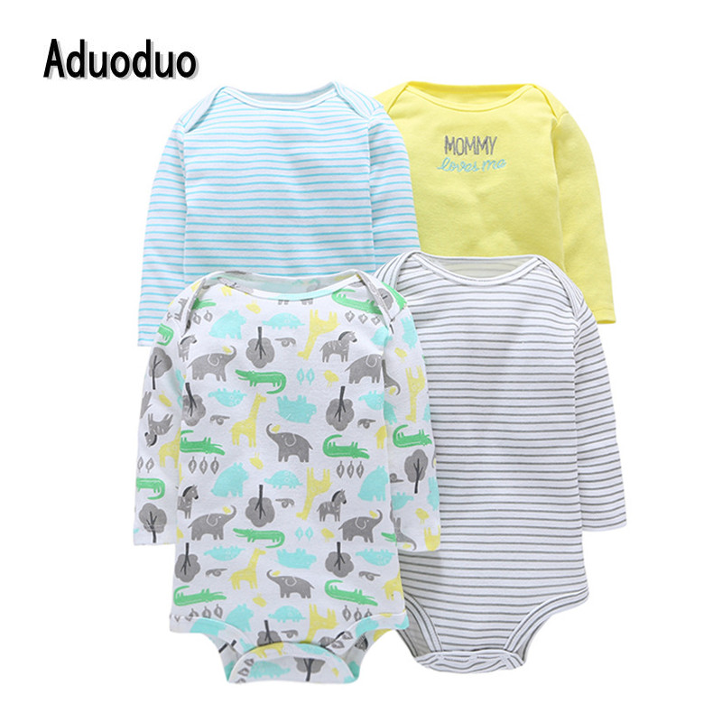 Freeshipping 2016 New Original Baby Girls Boys Long Sleeves Cotton Bodysuit,Baby boy clothes Fashion Jumpsuit 4pcs/lot