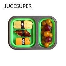 Silikon Feste Bento Lunch Box Hohe Kapazität kinder Geschirr Tragbare Lebensmittelbehälter Küchenwerkzeuge Hohe Qualität Für Camping