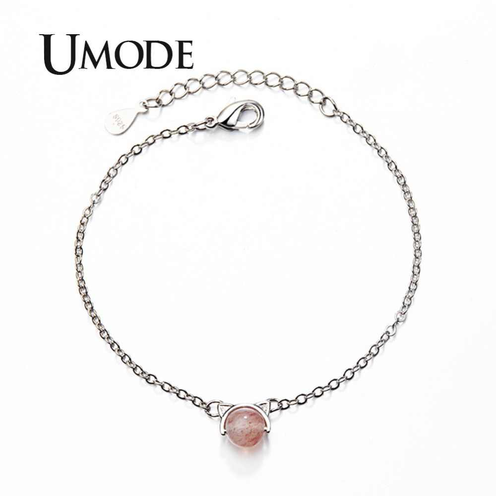 UMODE Charm Stone Strawberry Crystal Cat Ear Chain Bracelet Gifts for Girls Women Adjustable Jewelry Luxury Brand femme UB0144