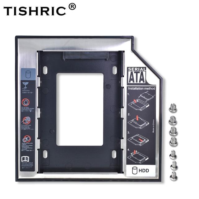 "TISHRIC Universal de aluminio 2nd HDD Caddy 12,7mm SATA 3,0 para 2,5 ""SSD Controlador de disco duro caja DVD CD-ROM adaptador Optibay"