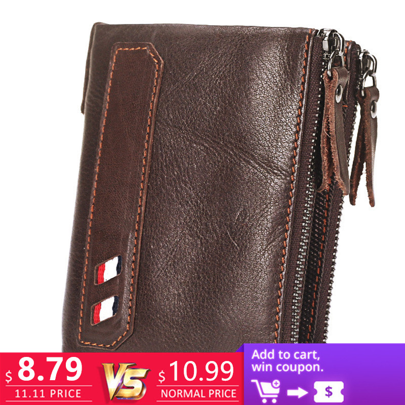 Vintage Genuine Cow Leather Men Wallet Coin Purse Wallets with Coin Pocket Dual Zipper Short Small Credit Card Holder Men Purse falan mule genuine leather men wallets short coin purse small vintage men s wallet cowhide leather card holder pocket purse