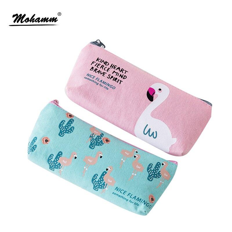 Kawaii Cute Korean Flamingo Canvas Pencil Case Storage Organizer Pen Bags Pouch Pencil Bag Pencilcase School Supply Stationery