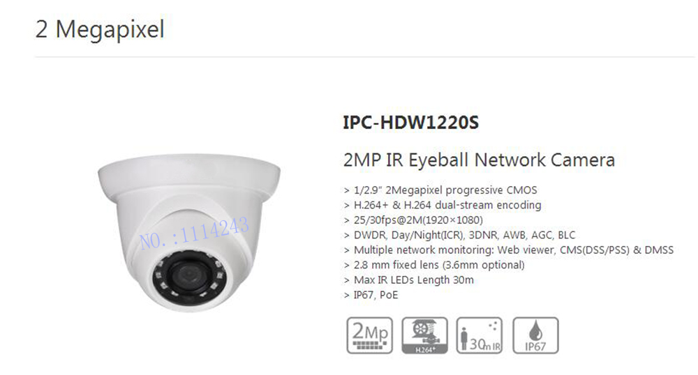 Free Shipping DAHUA 2MP Full HD Small IR Eyeball Camera with POE IP67 Original English Version without Logo IPC-HDW1220S free shipping dahua cctv camera 4k 8mp wdr ir mini bullet network camera ip67 with poe without logo ipc hfw4831e se