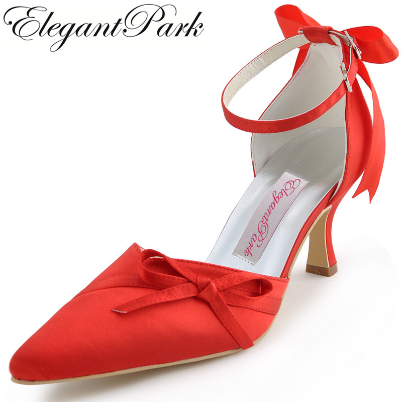 Women Red High Heels Wedding Shoes Pointed toe Ankle straps Bows Satin Lady Bridesmaids Bride prom evening bridal Pumps AF006A