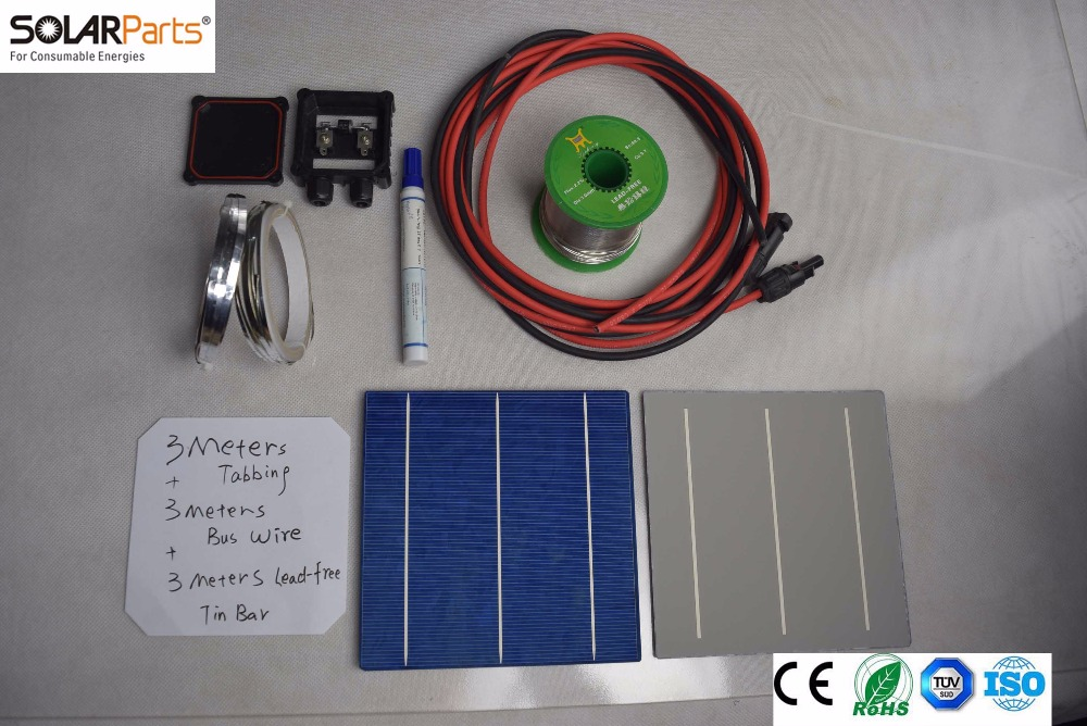 Solarparts 1x 150W/18V DIY solar panel kits with 156*156mm normal polycrystalline solar cell use flux pen+tab wire+bus+connect . high efficiency solar cell 100pcs grade a solar cell diy 100w solar panel solar generators