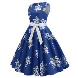 Blue Women Dress 2019 Christmas Casual Snowflake Pinup Vestidos Party Dresses Retro Vintage 50s 60s Robe Femme Rockabilly Swing 2