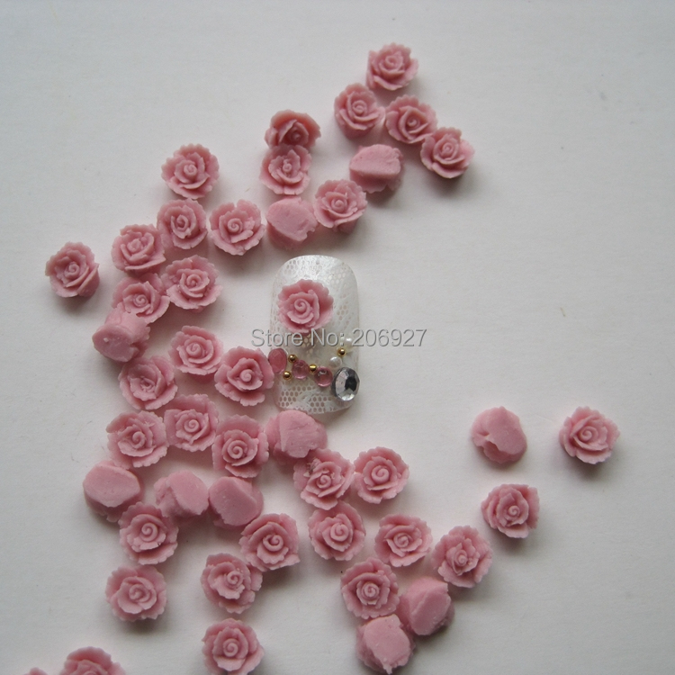 CF4-3 30pcs Cute Ceramic Pink Flower Shape Nail Art Decoration Outlooking art ceramic