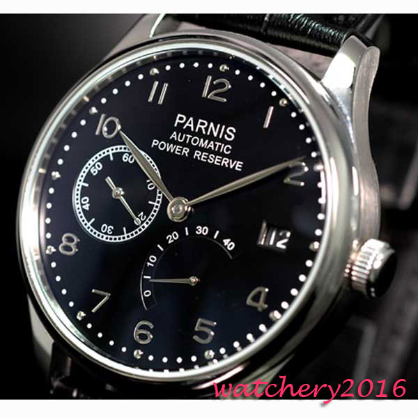 43mm parnis Black Dial Leather strap Stainless Steel Case Luxury Power reserve ST Automatic Movement men's Wristwatches 43mm parnis black dial silver number leather steinless steel case power reserve automatic movement men s mechanical wristwatches