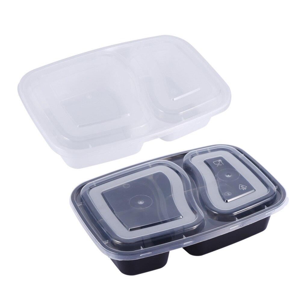 2 отсека печь Отопление бенто Ланчбокс, многоразовые Пластик Еда контейнеры для хранения с Крышки, черно-белый цвет, набор из 10 шт.