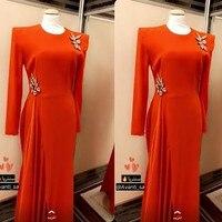 Full Sleeves Evening Dresses Orange Leg Split Unique Formal Party Dress for Women Celebrity Maxi Gowns Formal robe de soiree