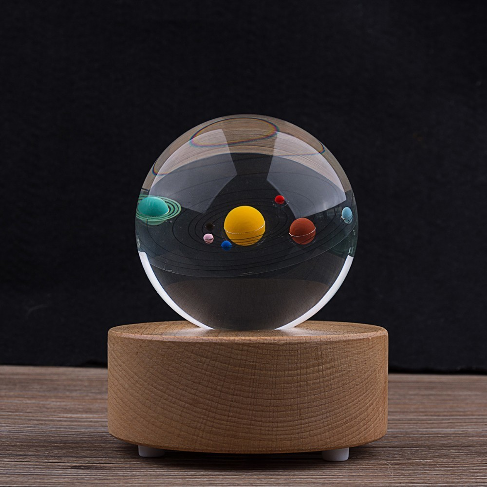 3D Stereoscopic Solar System Crystal Glass Ball Wooden Bluetooth Music Box Engraving Planet Crystal Sphere Gifts Decor Ornaments