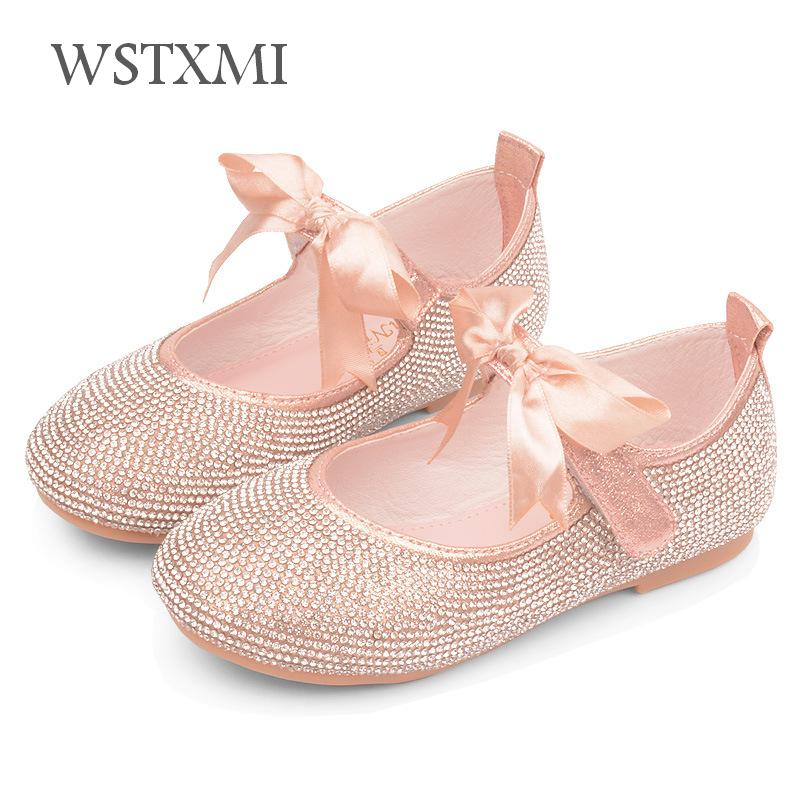 Kids Princess Shoes For Girls Glitter Leather Crystal Shoes Fashion Bow Party Wedding Dress Flat Shoes Children Banquet Blue