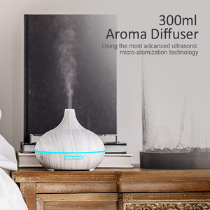 Image 3 - KBAYBO 300ml Electric Humidifier Aroma Oil Diffuser Ultrasonic White Wood Grain Air Purifier with 7 colors LED Lights for home